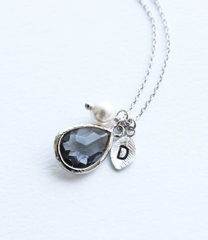 Charcoal & Pearl Silver Initial Drop Necklace
