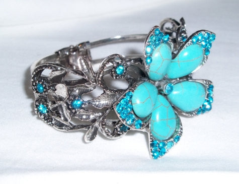 Turquoise and Blue Rhinestone Silver Flower Bracelet