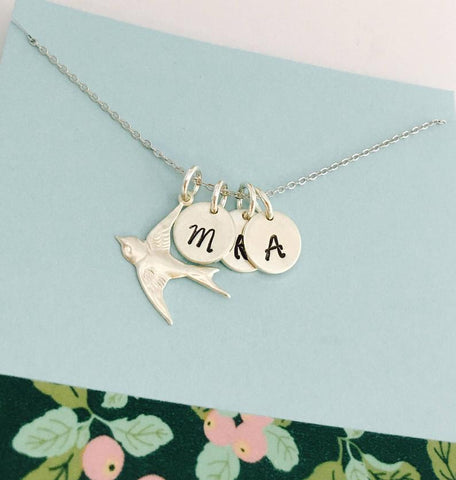 Mom's Silver Dove and Initial Monogram Necklace