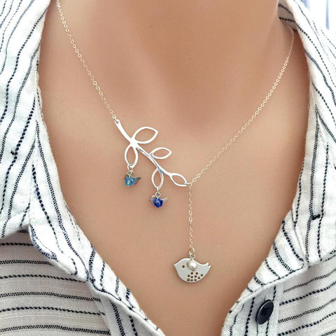 Silver Dove Family Monogram Necklace