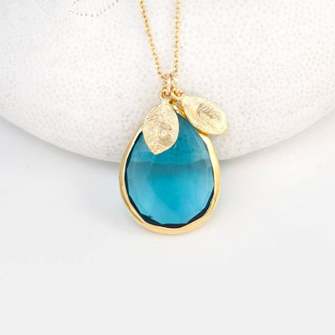 Aquamarine and 18k Gold Leaf Initial Necklace