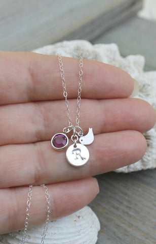 Silver Dove and Swarovski Birthstone Monogram Necklace