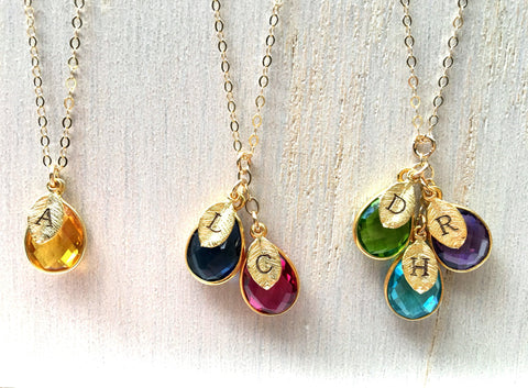 Golden Monogram Swarovski Drop Necklace