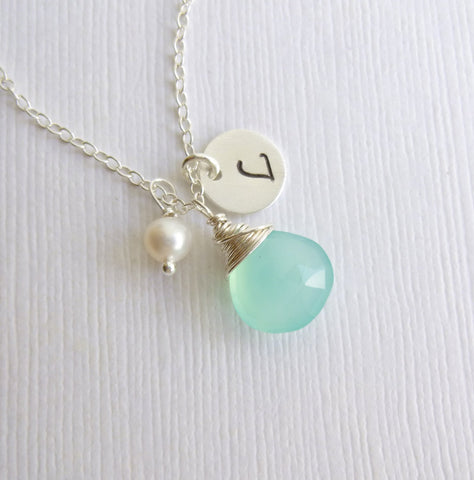 Chalcedony & Pearl Silver Initial Drop Necklace