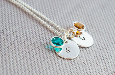 Anniversary Silver initial and Swarovski Birthstone Necklace