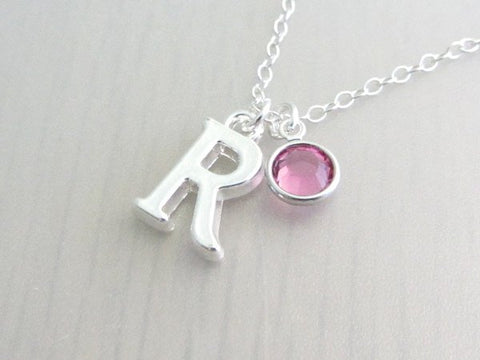 Silver initial and Swarovski Birthstone Necklace