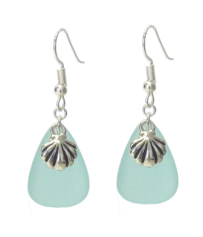 Aqua Seashell Earrings