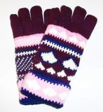 Lined Winter Knit Gloves in Heart Designs