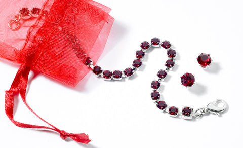 Swarovski Crystal in Siam Ruby Birthstone Bracelet & Earring Set in Sterling Silver Finish