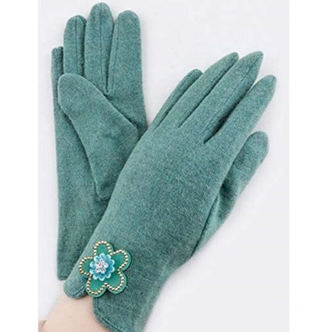 Crystal Accent Wool Gloves for Teens