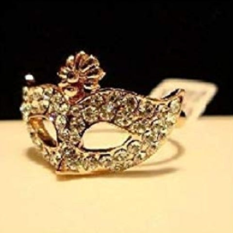 Mardi Gras Crystal Mask Ring