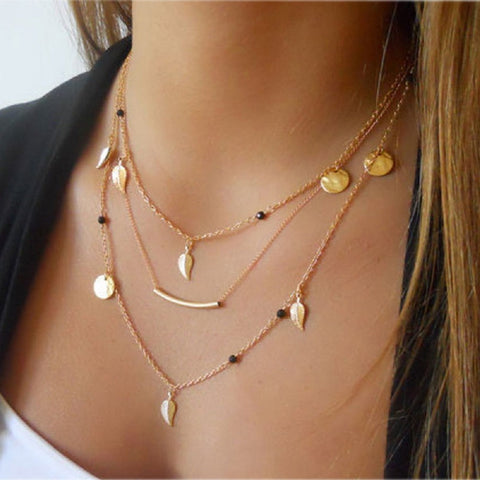 Multi-Layer Golden Bar Necklace
