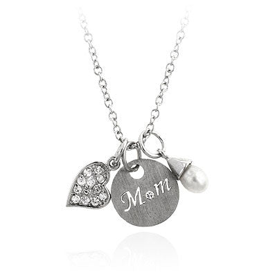 White Gold & Pearl Mom Charm Necklace