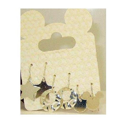 Mickey Mouse Silvertone Earring Trio