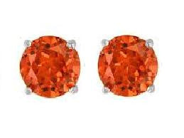 Swarovski Crystal Stud Earrings : Padparadscha in Sterling