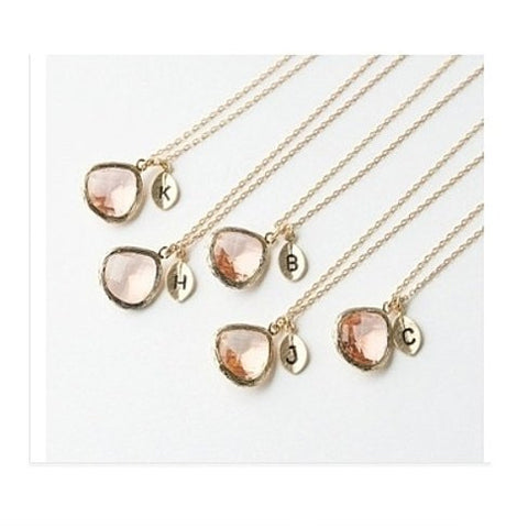 Peach Drop Initial Necklace