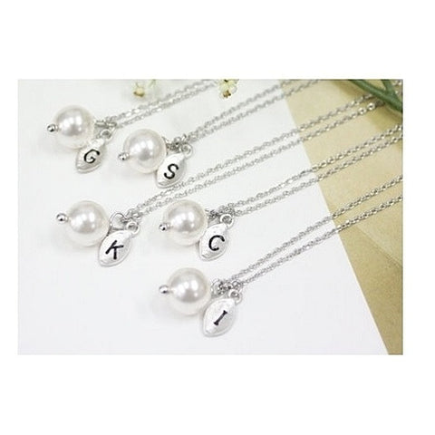 Pearl & Initial Silver Leaf Necklace