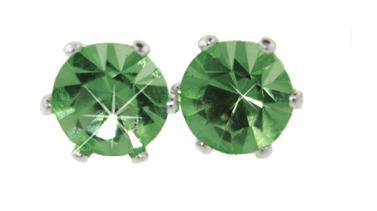 Swarovski Crystal Stud Earrings : Peridot in Sterling