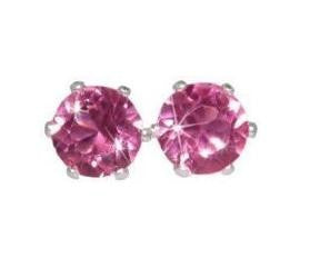 Swarovski Crystal Stud Earrings : Pink Sapphire in Sterling