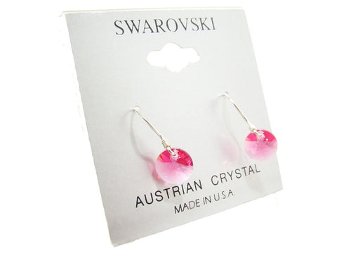 .925 Sterling Silver & Swarovski Crystal Dangle Earrings: Pink Ice