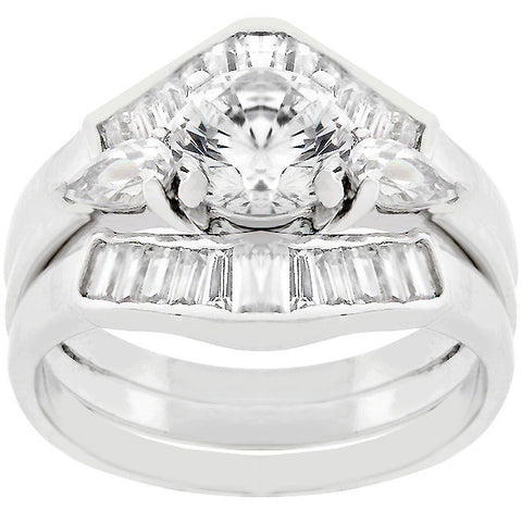 Trapezoidal Triple Engagement Ring