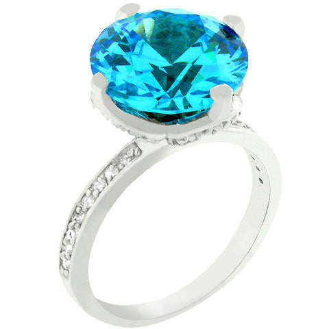 Royal Aqua Solitaire Ring