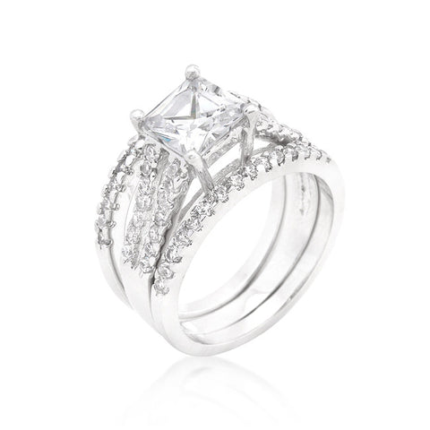 Princess Cut Triple Bridal Set