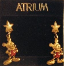 Mickey Mouse in Red and Golden Star Earrings
