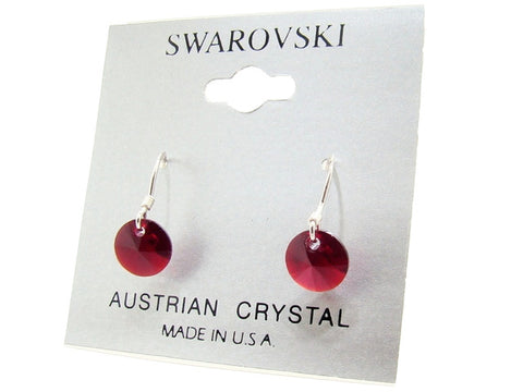 .925 Sterling Silver & Swarovski Crystal Dangle Earrings: Ruby Red