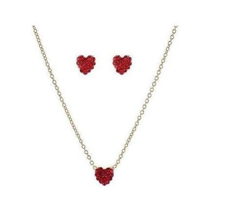 Mini Pave Red Heart Necklace in Crystal Set