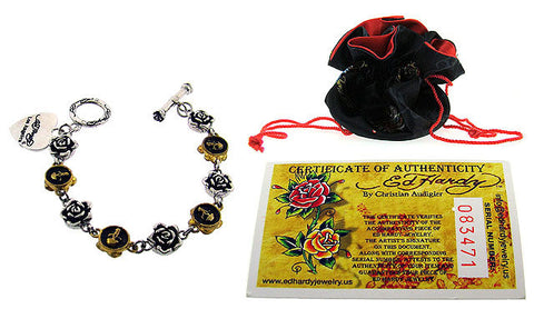 Ed Hardy® Stainless Steel and Bronze Rose Skull Link Bracelet