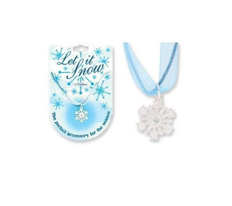 Sterling Silver Snowflake Let it Snow Necklace