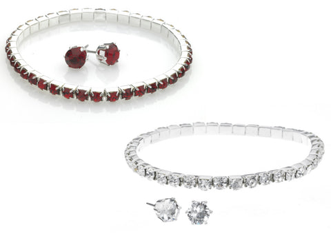 Swarovski Crystal Ruby or Clear Sterling Silver Finish