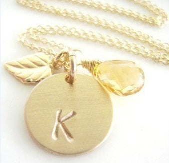 Swarovski Golden Briolette and initial Necklace