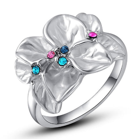 Silver Austrian Crystal Flower Ring
