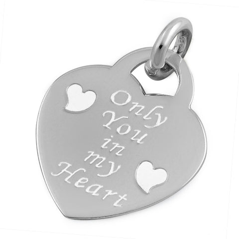 .925 Sterling Silver Love Always Heart Pendant