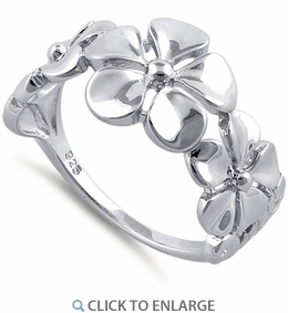 Sterling Silver Triple Plumeria Flower Ring