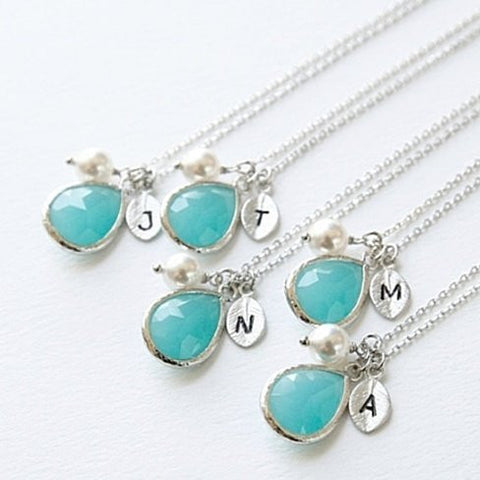 Turquoise & Pearl Silver Initial Drop Necklace