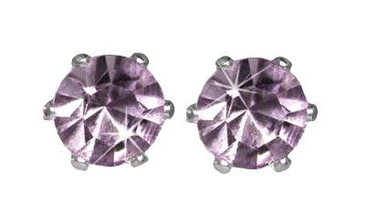 Swarovski Crystal Stud Earrings : Tanzanite in Sterling