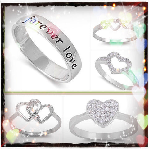 .925 Sterling Silver Sweetheart Rings