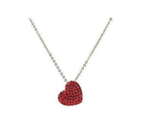 Tilted Pave Heart Necklace in Siam Ruby Crystals in 14k Gold