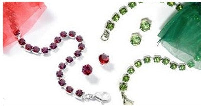 Swarovski Crystal Holiday Bracelet & Earring Sets  in Sterling Silver Finish