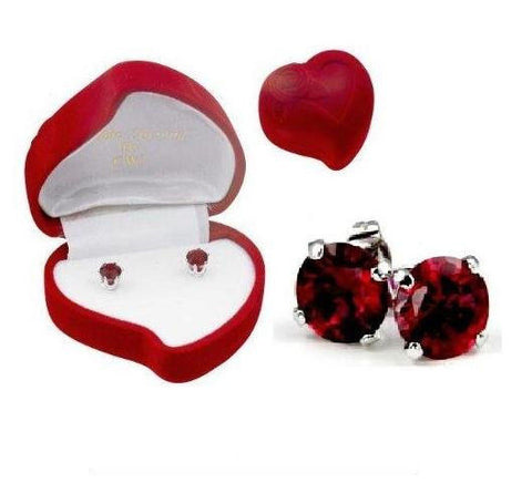 Valentine Siam Ruby Red Heart Earrings in .925 Sterling