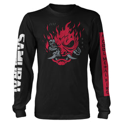 View 1 of Cyberpunk 2077 A Cool Metal Fire Long Sleeve Tee photo.