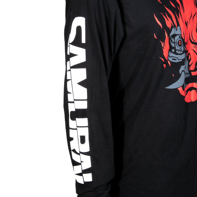 View 3 of Cyberpunk 2077 A Cool Metal Fire Long Sleeve Tee photo.