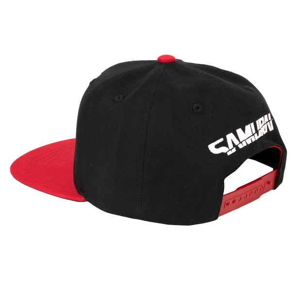 View 2 of Cyberpunk 2077 Samurai Logo Snapback Hat photo. alternate photo.
