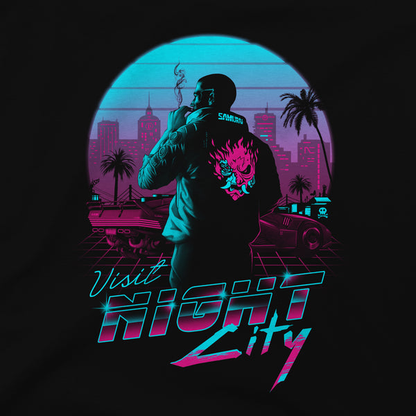 View 2 of Cyberpunk 2077 Destination Night City Premium Tee photo. alternate photo.