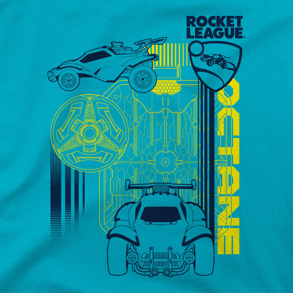 View 2 of Rocket League Octane Schematic Youth Tee photo. alternate photo.