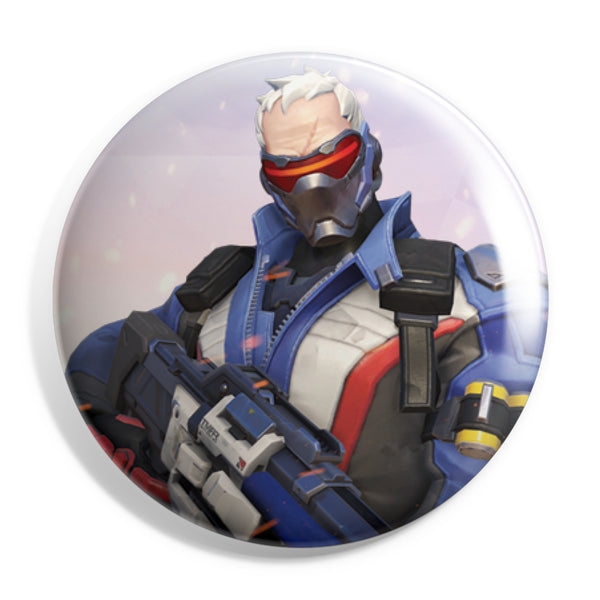 View 1 of Overwatch Soldier 76 Button photo. primary photo.