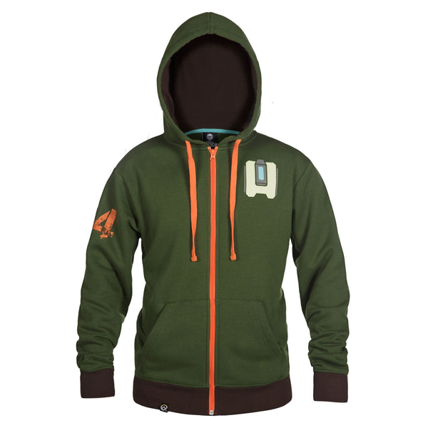 View 2 of Overwatch Ultimate Bastion Zip-Up Hoodie photo. alternate photo.